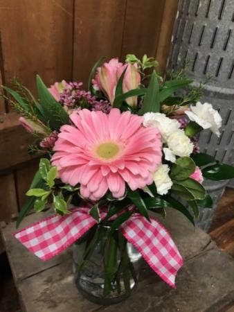 Sweet Gerber Bouquet Sweet Gerber Daisy in Vintage Mason Jar