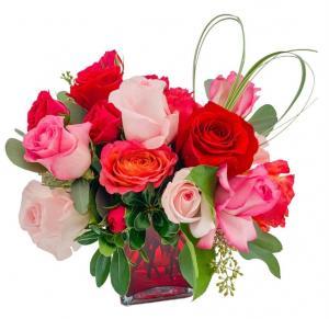 Be Mine Cube Vase Arrangement in Mantua, NJ | Lavender & Lace Florist & Gift Shop