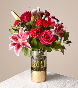 Be Mine Cylinder vase with gold bottom in Claremont, NH | FLORAL DESIGNS BY LINDA PERRON