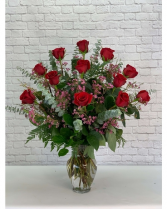 BE MINE  DOZEN RED ROSES WITH PINK WAXFLOWER