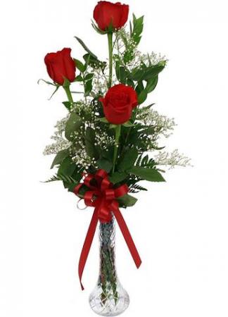 Be Mine Roses 3 Rose Bud Vase