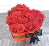 Be Mine Roses Heart Box (Available in red or black box, indicate in instructions)