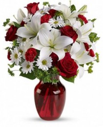 Be My Love Bouquet  Red Glass Vase