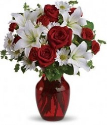 be my love bouquet  with red roses lilies with roses