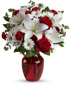 Be My Love Ruby Red vase arrangement