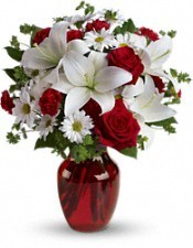 Brenda's Happiness vase with red and white in Lebanon, NH | LEBANON GARDEN OF EDEN FLORAL SHOP