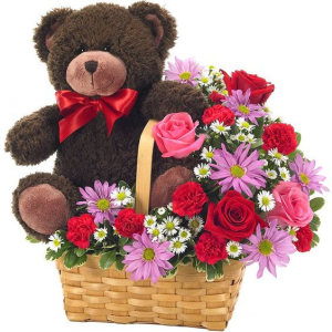 Be My Teddy Bear Basket in Atascadero, CA | ARLYNE'S FLOWERS & ETC.