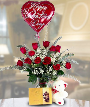 Be My Valentine Deluxe/Premium   Dozen Red Roses, Plush Bear, Chocolates, & Valentine Mylar in Southern Pines, NC | Hollyfield Design Inc.