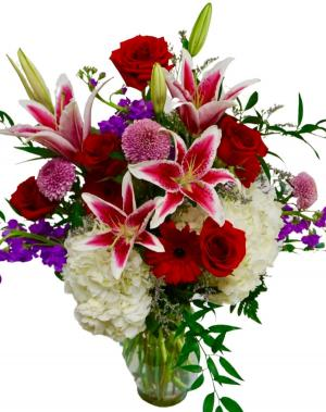 I love you bouquet Vase arrangement in Coral Springs, FL | Hearts & Flowers of Coral Springs