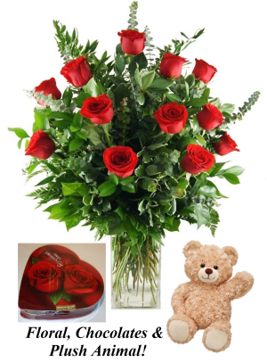 Be My Valentine's FLoral 12 Red Rose with Chocolate and Plush Bear in Plainview, TX | Kan Del's Floral, Candles & Gifts