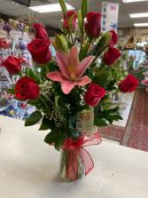 Just Perfect One Dozen Long Stems Ecuadorian Roses & Lilies