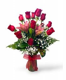 Just Perfect One Dozen Long Stems Ecuadorian Roses & Lilies