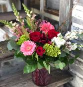 Be My Valentine's Red Glass Vase of Valentine's Flowers