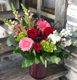 Be My Valentine's Red Glass Vase of Valentine's Flowers in Key West, FL | Petals & Vines
