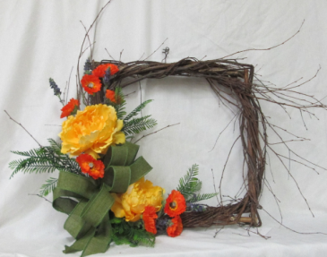 Be Square Wreath - Silk Arrangement Permanent Arrangement by Inspirations Floral Studio