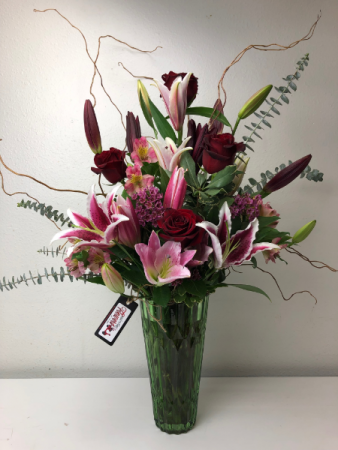 When they deserve the Very Best Red Roses and Stargazer Lilies