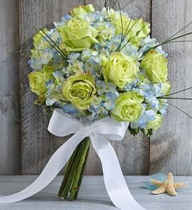 Beach Wedding Blue Hydrangea Bouquet