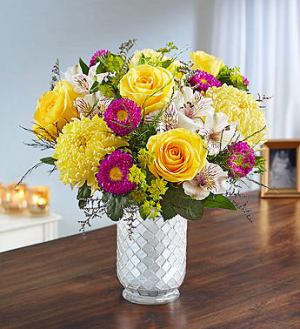 Beaming Sunshine in White Mosaic Vase  in Valley City, OH | HILL HAVEN FLORIST & GREENHOUSE