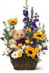 Bear & Basket Bouquet Flower arrangement