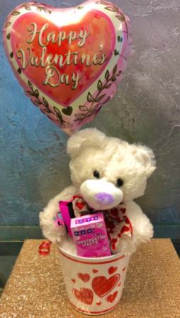 Bear, Candy and Balloon  Gift Bucket