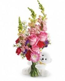 Bear Hug Bear with Pink Roses
