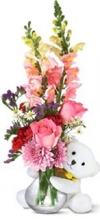 Bear Hug Bear with Pink Roses Flowers