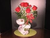 Bear Hug Keepsake Flower Arrangement