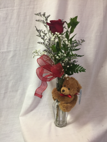 Bear Hug Single Rose Vase