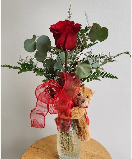 Bear Hug Single Rose Vase