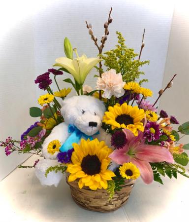 Bear In A Basket Custom Made by Petal Pusher