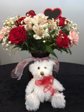 Bear Loveable Mixed Flower vase with bear