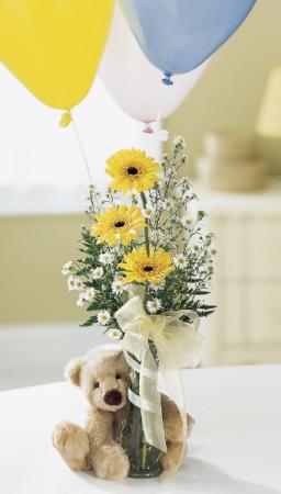 Bear plus Balloon Bouquet Vase Arrangement  in Granville, NY | The Florist at Mandy's Spring
