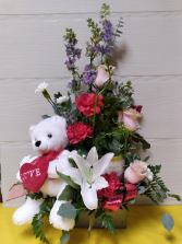 Bear, Scented Candle & Flowers