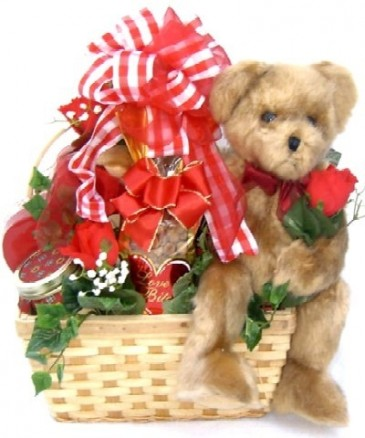 BEARING A BASKET OF LOVE  Gift Basket with  Bear Holding A Real Rose