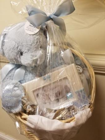 Bearington Blue Baby Basket gift basket