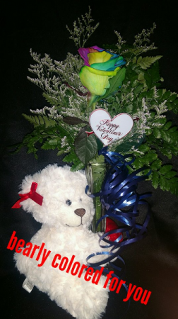 bearly colored for you rainbow rose arrangement in Sentinel, OK | JJ GIFT SHOP