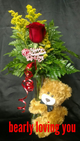 bearly loving you single red rose with bear in Sentinel, OK | JJ GIFT SHOP