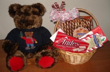 BEARY CHRISTMAS Large Sitting  Bear W/Christmas Candy