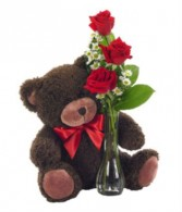 Beary Lovely Roses  3 Rose budvase with Cuddly Bear
