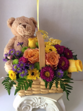 Beary Pretty floral basket