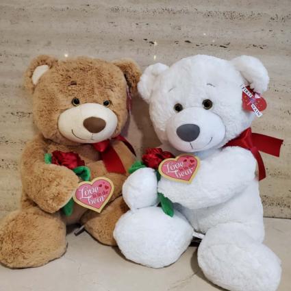 Beau Bear with Rose Large Plush