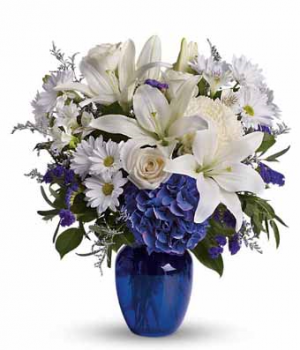 BEAUTFIFUL IN BLUE EVERYDAY OR SYMPATHY in Youngstown, OH | BURKLAND'S FLOWERS