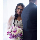 Beautif bride. Laverders and purple bouquet Weddings and special occasion.
