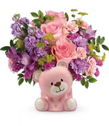 Beautiful Arrival Bear All-Around Floral Arrangement