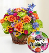Beautiful Basket to Say Happy Birthday Arrangement