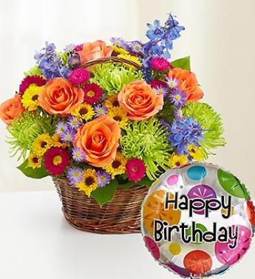 Beautiful Basket to Say Happy Birthday Arrangement