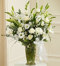 Beautiful Blessings in White Lovely Lilies, Roses and More