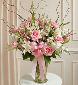 Beautiful Pink Vase Arrangement assorted flowers