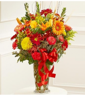 Beautiful Blessings Sympathy Vase - Fall Colors  in Croton On Hudson, NY | Cooke's Little Shoppe Of Flowers