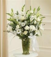 Beautiful Blessings Vase Arrangement - White Funeral - Sympathy